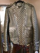 100 Authentic Balmain Leather Quilted Motorcycle Jacket Rare Khaki Green