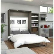 Bestar Cielo Premium 95 Queen Wall Bed Kit In Bark Gray And White