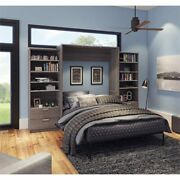 Bestar Cielo Premium 124 Queen Wall Bed Kit In Bark Gray And White