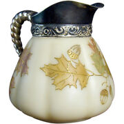 Mount Washington Glass Pitcher With Acorns And Leaves - Smith Brothers, 1880's