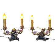 Minstrel Lamps With Musical Figures On Marble Bases - 1920and039s