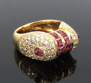 Vintage 1.60ct Diamond And 1.50ct Ruby 18k Yellow Gold Pave Dome Ring Size 4.75