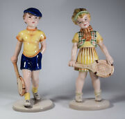 2 Wien Figurines Boy And Girl Tennis Players