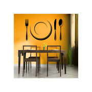 Cutlery Set And Plate Dining Room Utensils Wall Decal Sticker Home Ws-18868