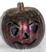 IRIDESCENT COPPER JACK O LANTERN ART STUDIO POTTERY SIGNED HALLOWEEN SCULPTURE