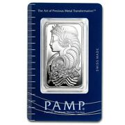 1 Troy Oz .999 Silver Pamp Suisse Lady Fortuna + 1 99.9 24k Gold 100 Bill