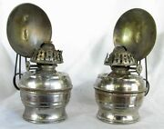 Antique All Night Oil Lamps Clip On A Pair C.1870
