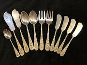 11 Piece Mixed Lot Of Stieff Rose Sterling Silver Flatware 350g