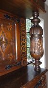 Antique English Carved , Oak Court Cupboard Cabinet Jacobean C 1890 Two Pieces