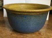 Studio Art Pottery Hand Thrown Bowl Blue Brown Textured Glazed Signed THL