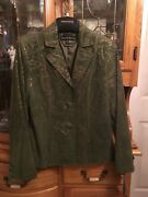 Pamela Mccoy Green Suede With Gold Accents Jacket Xs Nwt
