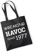 44th Birthday Gift Tote Shopping Cotton Novelty Bag Wreaking Havoc Since 1977