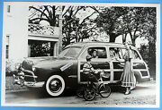 12 By 18 Black And White Picture 1949 Ford Woody Station Wagon