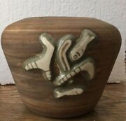 MID CENTURY DEMARAY CALIFORNIA ART POTTERY PLANTER RAISED FISH TRIBAL MOTIF