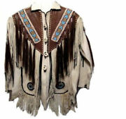 Men White And Brown Cowboy Suede Leather Western Wear Jacket Fringes Beads