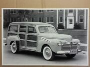 12 By 18 Black And White Picture 1942 Ford Woody Wagon Michigan Plates