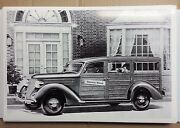 12 By 18 Black And White Picture 1936 Ford Woody Station Wagon Artist Rendering