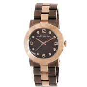 New Marc Jacobs Ladies Mbm3195 Amy Brown Rose Gold Watch - 2 Years Warranty