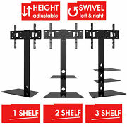 Tv Stand With Mount Bracket 32 - 60 Inch Tvs Cantilever Floor Glass Shelves