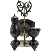 Victorian Pairpoint Silver Plated Four Piece Condiment Set