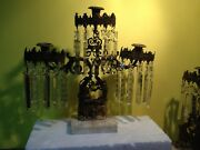 3 Piece Of Vintage Italian Brass Candle Holder Crystals Prisms Marble Base Italy
