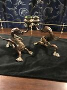 Pair Of And Company Bronze Gargoyle Candle Holders