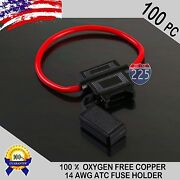 100 Pack 14 Gauge Atc In-line Blade Fuse Holder 100 Ofc Copper Wire Protection