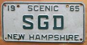 New Hampshire 1965 Vanity License Plate Sgd