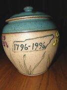 """200th Birthday Of Tennessee Covered Jar w/ Iris 8"""" w/ lid Art Pottery D-3 Annie"""
