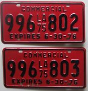 Louisiana 1975 Commercial Consecutive Number License Plates 996-802 And 996-803
