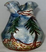Handmade Hand Painted Signed Pottery Pine Tree Vase 4 inches Tall