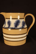 Very Rare Large 1800s Blue And Brown Mocha Trees Pitcher Mochaware Yellow Ware