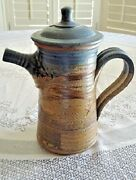 Art Pottery Studio Tall TEAPOT Handcrafted Vintage Signed Candling or Canding