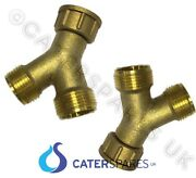 3/4 X 3/4 Brass Y Piece Splitter Twin Outlet Washing Machine Hose Feed 2 Pack