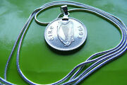 Irish 1993 Harp Coin Pendant Necklace On A 24 925 Sterling Silver Chain