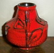 Mid Century Modern ILKRA Keramik Red German / Germany Fat Lava Era Vase