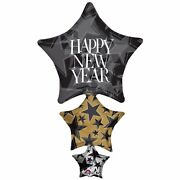 New Years Eve Party Balloon Happy New Year Giant Stacker Foil 107cm