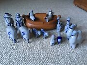 Eldreth Pottery Noah's Ark Salt Glaze Animals complete 17 piece folk art set