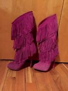 Christian Louboutin Purple Suede Forever Tina Fringe Boots