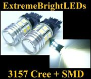 Two Xenon Hid White 3156 3157 Cree Q5 + 12-smd Backup Lights 80c