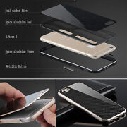 Deluxe Metal Aluminum Frame Carbon Fiber Back Case Cover For Iphone 6 And 6 Plus