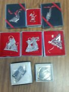 Lot Of 8 Silver-plated Christmas Ornaments And Bookmark From Towle, Wallace And Lunt
