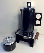 Vintage Coffee Pot & Sugar Bowl with Warming Stand1960's by George Briard Signed