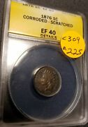 1876 Certified Indian Head Small Cent, Ef40, C309