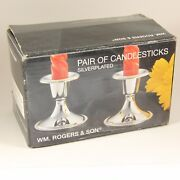 Vtg Wm Rogers And Son Candlesticks Silverplated Candle Silver Holders 3 Nib 1996
