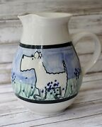 Karen Donleavy STUDIO ART POTTERY Dog PITCHER Signed TERRIER White Schnauzer