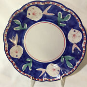 Ceramica Solimene Vietri Large Dinner Plate Fish on Blue with Red Border