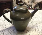 RACKLIFFE POTTERY BLUE HILL MAINE VTG OLIVE TEAPOT COFFEE POT PERFECT CONDITION