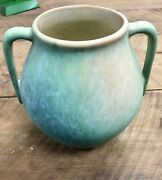 Roseville Pottery Earlam Vase #519-7 Tan/Green/Blue Authentic