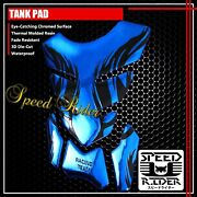 4pc Black Flame/fire Tank Pad Protector Decal 3d Gel Guard Sticker Chromed Blue